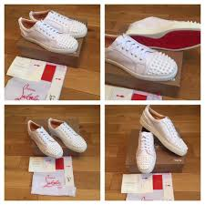 christian louboutin white low top unisex trainers shoes loubs red