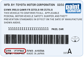 toyota touch up paint color code and directions for toyota