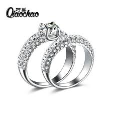 2pcs lot new arrival simple style ring cz men ring fashion 2pcs lot wedding rings for women high quality silver plated wave