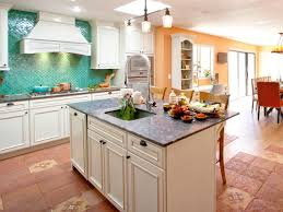 kitchen blue painted kitchen island mosaic granite backsplash