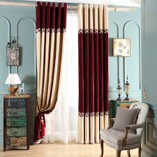 Wine Colored Curtains Beige And Wine Jacquard Chenille Thermal Color Block