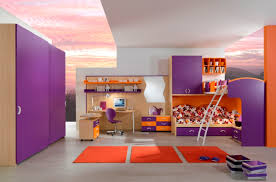 loft bed with closet elegant bedroom design for kids with purple color with open