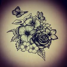 flowers butterfly design ink butterfly