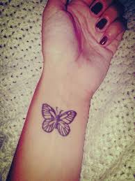 small butterfly wrist attractive tattoos design idea for