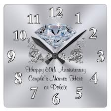 60th anniversary gifts diamond personalized 60th anniversary gifts clock zazzle