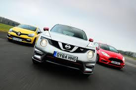 nissan renault nissan juke nismo rs vs ford fiesta st and renault clio rs 200