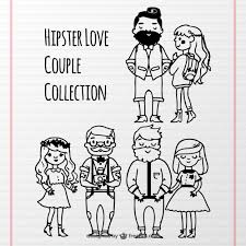 sketches of romantic hipster couples vector free download