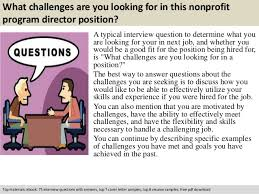 Non Profit Program Director Resume Sample by Nonprofit Program Director Interview Questions