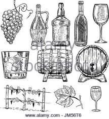 wine bottle hand drawn engraved old looking vintage illustration