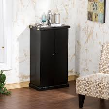 Small Bar Cabinet Furniture Black Polished Maple Wood Licquoer Cabinet With Swing Door