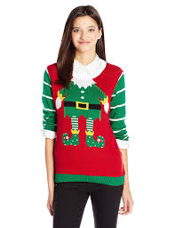 ugly christmas sweater juniors u0027 tattooed elf christmas sweater at