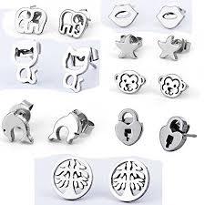 stainless steel stud earrings sparkles 8 pairs small stainless steel stud earrings for women gi