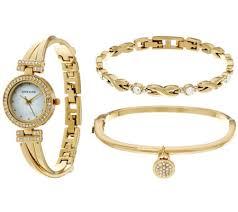 anne klein bracelet set images Anne klein crystal bangle watch and bracelet set page 1 001