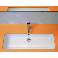 bathroom design trough sink bathroom with orange countertop and