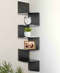 amazon com greenco 5 tier wall mount corner shelves espresso