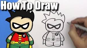 draw cute cartoon robin batman easy chibi step