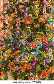 tree baubles in shop window display stock photo