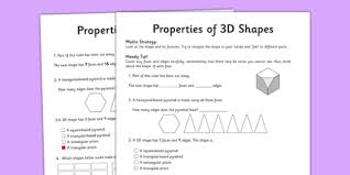 year 5 properties of shapes activity sheet worksheet test