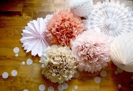 Pom Pom Decorations Wedding Decor Paper Pom Decorations Neutral