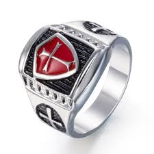 vintage titanium rings images Zmzy red armor knight templar crusader cross shield men 39 s ring jpg
