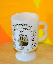 Gold Coffee Mug 70s Vintage Milkglass Mug Amish Country Pennsylvania Dutch Gold