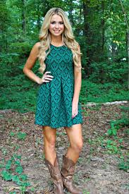 country style teal green dress with taupe cowboy boots in