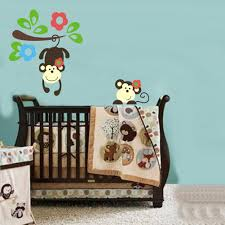 cute monkey playing on colorful tree wall decal
