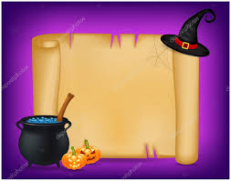 halloween banner card with empty paper scroll and witches
