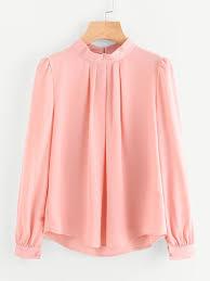blouse button pleated detail button keyhole back chiffon blouse shein sheinside