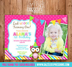 printable owl birthday photo invitation girls first