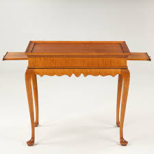 Tiger Maple Furniture Wheeler American Queen Anne Style Tea Table Tiger Maple Benchmade