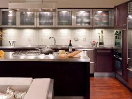 Kitchens With Glass Tile Backsplash Cabinets U0026 Drawer Espresso Kitchen Cabinets With Glass Doors