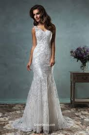 gorgeous mermaid v neck sleeveless lace backless long tail wedding