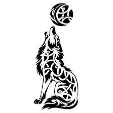 trends celtic wolf howling at the moon design