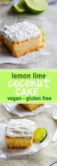 gluten free lemon lime coconut vegan cake with coconut frosting