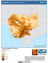 Map Of Cambodia Maps Population Density Grid V3 Sedac