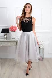 spodnica tiulowa spódnica midi tiulowa szara cocomoda pl odzież damska su
