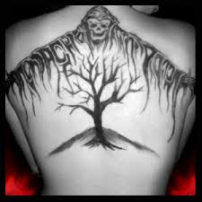 tribal grim reaper back piece tattoo design photos pictures and