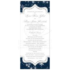 wedding program a wintry wedding program card snowflakes navy