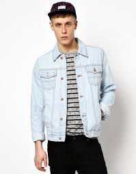 light blue denim jacket mens lyst asos denim jacket with bleach wash in blue for men