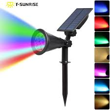 color changing outdoor lights t sun 7 led auto color changing solar spotlight outdoor lighting