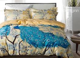 Yellow And White Duvet Designer 60s Brocade Peacock And Branches Luxury 4 Piece Cotton