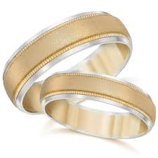 wedding bands for him and gold matching his hers two tone wedding band ring set