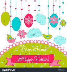 happy easter dear vector happy easter card dear friend stock vector 265839761