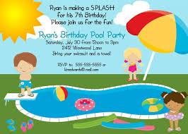 free printable kids pool birthday party invitation
