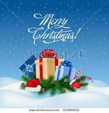 bags of christmas bows merry christmas congratulation on blue snowy stock vector 523988053