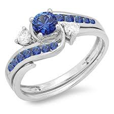 swirl engagement rings 10k white gold blue sapphire and white diamond swirl
