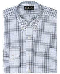 lauren by ralph lauren slim fit non iron check dress shirt in blue