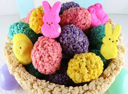 Make Your Own Easter Table Decorations by Rice Krispie Treat Easter Basket Centerpiece Two Sisters Crafting