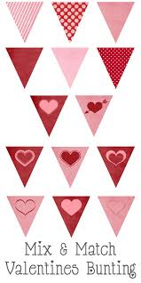 valentines mix and match bunting free printable valentines day